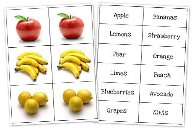 Карточки для развития детей с фруктами и овощами на английском языке