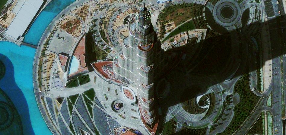 Фотография Бурдж Дубай из космоса.